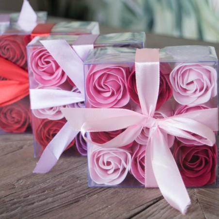 Boite de 9 Roses , Rose & Rouge