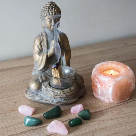 Bougeoir en sel rose de l'Himalaya
