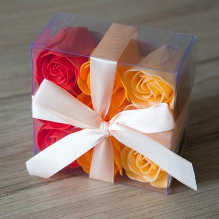 Boite de 9 Roses en pétales de savon - Orangé et Rouge