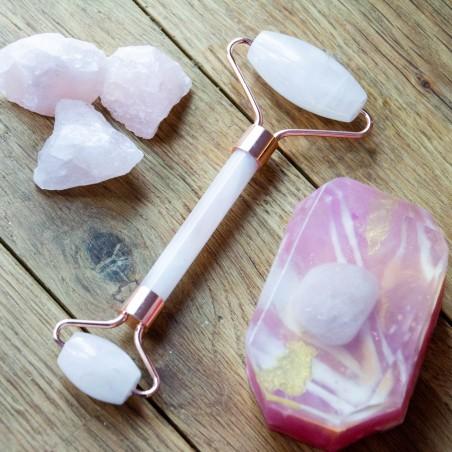 Rouleau de massage du visage en Quartz Rose
